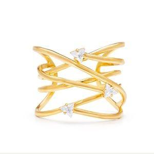 Sarah Magid 12k Gold & Crystal Cuff Bracelet $670